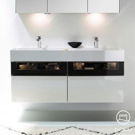 Burgbad Yumo Doppelwaschtisch mit Waschtischunterschrank mit LED-Beleuchtung und 4 Auszügen Front weiß hochglanz/bronze/Korpus weiß hochglanz/Waschtisch weiß