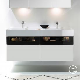 Burgbad Yumo Doppelwaschtisch mit Waschtischunterschrank mit LED-Beleuchtung und 4 Auszügen Front weiß matt/ bronze/Korpus weiß matt/WT weiß