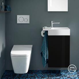 Burgbad Yumo Handwaschbecken mit Waschtischunterschrank mit 1 Tür Front schwarz hochglanz/Koprus schwarz hochglanz/Waschtisch weiß