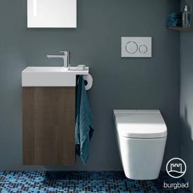 Burgbad Yumo Handwaschbecken mit Waschtischunterschrank mit 1 Tür Front eiche graubraun wellenschlag/Korpus eiche graubraun wellenschlag, Waschtisch weiß samt