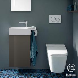 Burgbad Yumo Handwaschbecken mit Waschtischunterschrank mit 1 Tür Front grau hochglanz/Korpus grau hochglanz/Waschtisch weiß samt