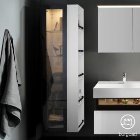 Burgbad Yumo Hochschrank mit LED-Beleuchtung mit 1 Tür und 1 Regal Front weiß hochglanz/bronze/Korpus weiß hochglanz