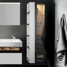 Burgbad Yumo Hochschrank mit LED-Beleuchtung mit 1 Tür und 1 Regal Front weiß matt/bronze/Korpus weiß matt