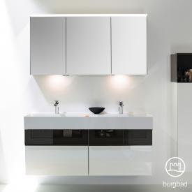 Burgbad Yumo Set Doppelwaschtisch mit Waschtischunterschrank und Spiegelschrank Front weiß hochglanz/bronze/Korpus weiß hochglanz/WT weiß samt