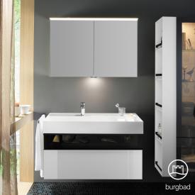 Burgbad Yumo Set Waschtisch inkl. Ablage mit Waschtischunterschrank und Spiegelschrank Front weiß hochglanz/bronze/Korpus weiß hochglanz/Waschtisch weiß