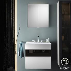 Burgbad Yumo Set Waschtisch mit Waschtischunterschrank und Spiegelschrank Front weiß hochglanz/bronze/Korpus weiß hochglanz/Waschtisch weiß