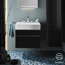 Burgbad Yumo Waschtisch mit Waschtischunterschrank mit 2 Auszügen Front schwarz hochglanz/Koprus schwarz hochglanz/Waschtisch weiß