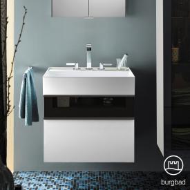 Burgbad Yumo Waschtisch mit Waschtischunterschrank mit 2 Auszügen Front weiß hochglanz/bronze/Korpus weiß hochglanz/WT weiß