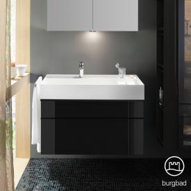 Burgbad Yumo Waschtisch inkl. Ablage mit Waschtischunterschrank mit 2 Auszügen Front schwarz hochglanz/Koprus schwarz hochglanz/Waschtisch weiß