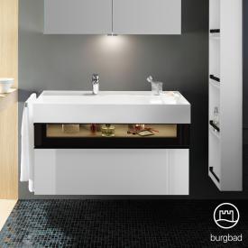 Burgbad Yumo Waschtisch inkl. Ablage mit Waschtischunterschrank mit LED-Beleuchtung und 2 Auszügen Front weiß hochglanz/bronze/Korpus weiß hochglanz/Waschtisch weiß