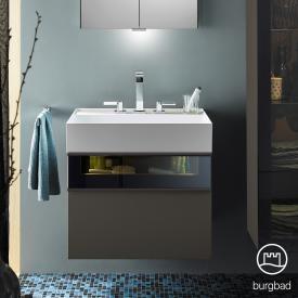 Burgbad Yumo Waschtisch mit Waschtischunterschrank mit LED Beleuchtung und 2 Auszügen Front grau hochglanz/bronze/Korpus grau hochglanz/Waschtisch weiß samt