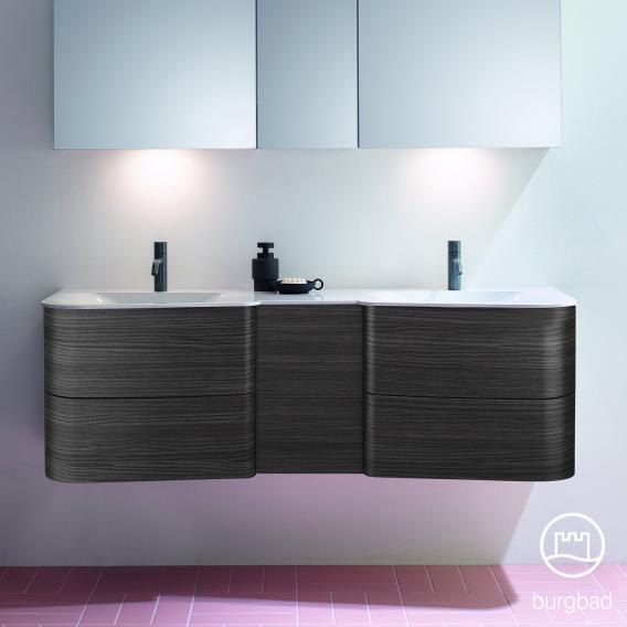 Burgbad Badu Doppelwaschtisch mit Waschtischunterschrank mit 4 Auszügen Front hacienda schwarz / Korpus hacienda schwarz, Griffleiste anthrazit, Waschtisch weiß