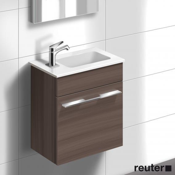 Burgbad Bel Handwaschbecken mit Waschtischunterschrank mit 1 Tür Front marone trüffel dekor/Korpus marone trüffel dekor/Waschtisch weiß