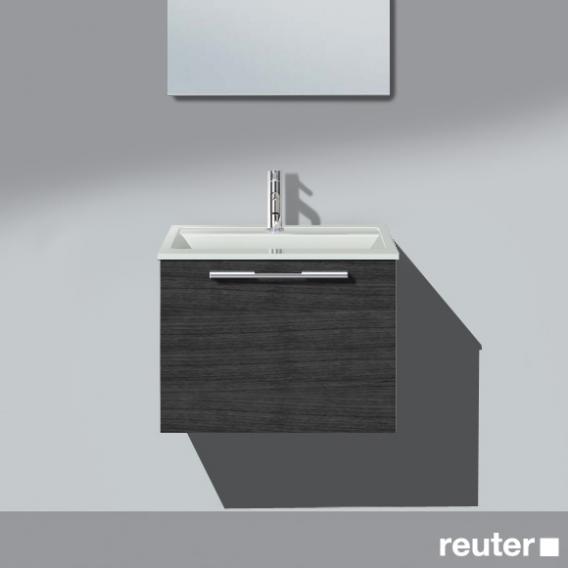 Burgbad Bel Waschtisch mit Waschtischunterschrank mit 1 Auszug und Griffleiste Front hacienda schwarz/Korpus hacienda schwarz/Waschtisch weiß