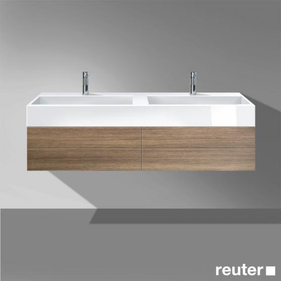 Burgbad Crono Doppelwaschtisch mit Waschtischunterschrank mit 2 Auszügen Front nussbaum natur / Korpus nussbaum natur / WT weiß