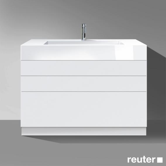 burgbad crono waschtisch mit waschtischunterschrank mit 3 ausz gen front wei matt korpus wei. Black Bedroom Furniture Sets. Home Design Ideas