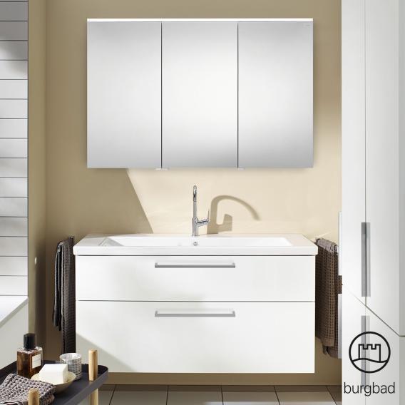 Burgbad Eqio Badmöbel-Set 3 Waschtisch mit Waschtischunterschrank und Spiegelschrank Front weiß hochglanz / Korpus weiß glanz, Stangengriff chrom