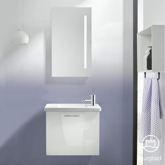 Burgbad Eqio Keramik-Waschtisch mit Waschtischunterschrank mit 1 Klappe Front weiß hochglanz / Korpus weiß glanz, Stangengriff chrom