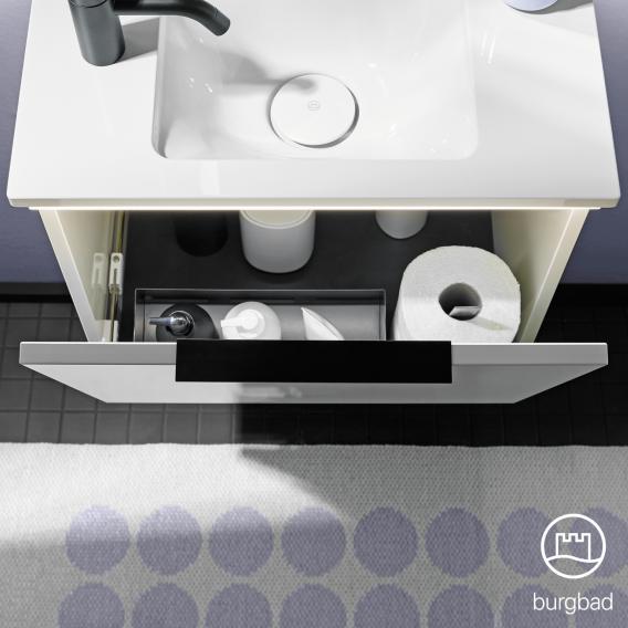 Burgbad Eqio Mineralguss-Waschtisch mit Waschtischunterschrank mit 1 Klappe Front weiß hochglanz / Korpus weiß glanz, Griff chrom