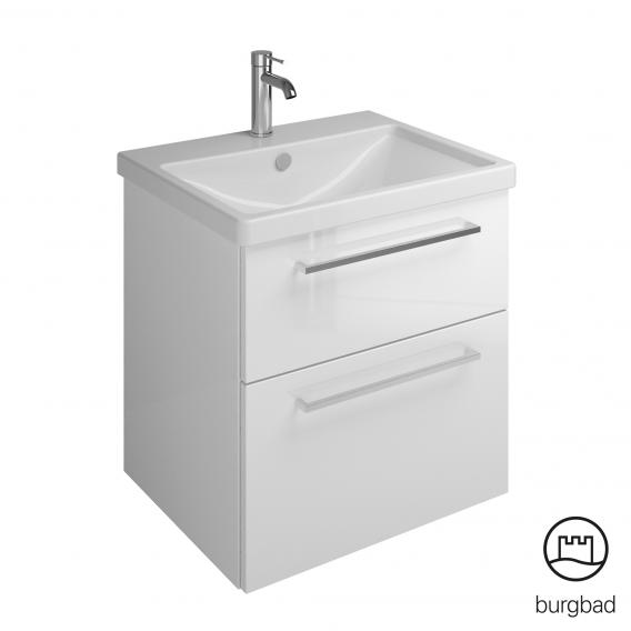 Burgbad Eqio Waschtisch mit Waschtischunterschrank mit 2 Auszügen Front weiß hochglanz / Korpus weiß glanz, Stangengriff chrom