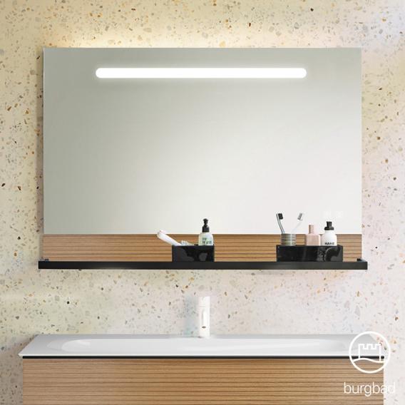 Burgbad Fiumo Leuchtspiegel mit horizontaler LED-Beleuchtung Front verspiegelt / Korpus tectona zimt dekor