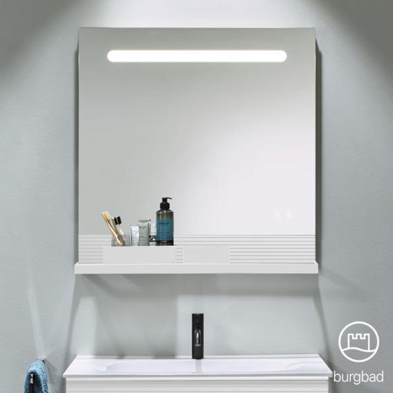 Burgbad Fiumo Leuchtspiegel mit horizontaler LED-Beleuchtung Front verspiegelt / Korpus weiß matt