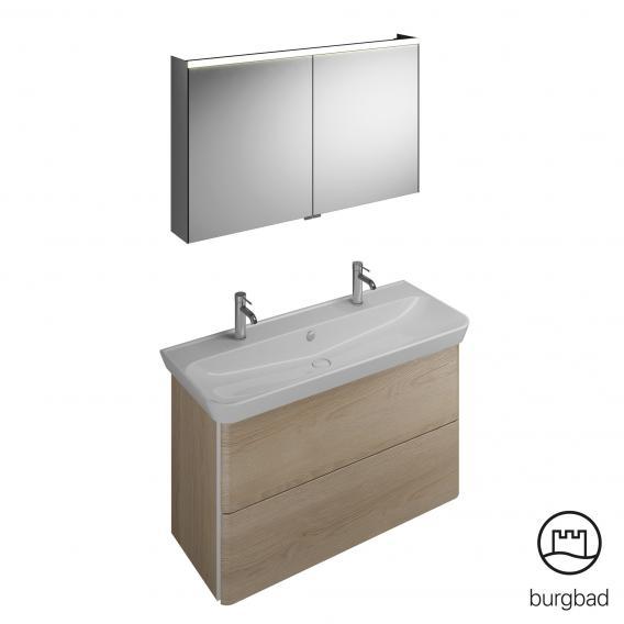 Burgbad Iveo Waschtisch mit Waschtischunterschrank und Spiegelschrank Front eiche cashmere dekor / Korpus eiche cashmere dekor