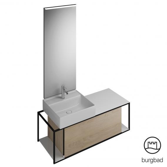 Burgbad Junit Badmöbel-Set Keramik-Waschtisch inkl. Waschtischunterschrank und Spiegel Front eiche cashmere dekor / Korpus eiche cashmere dekor