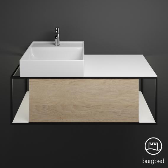 Burgbad Junit Keramik-Waschtisch inkl. Waschtischunterschrank mit LED-Beleuchtung mit 1 Auszug Front eiche cashmere dekor / Korpus eiche cashmere dekor