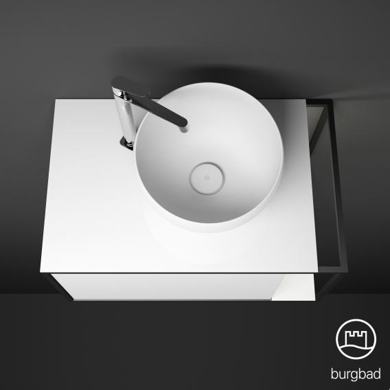 Burgbad Junit Mineralguss-Waschtisch inkl. Waschtischunterschrank  mit LED-Beleuchtung mit 1 Auszug Front weiß hochglanz / Korpus weiß hochglanz