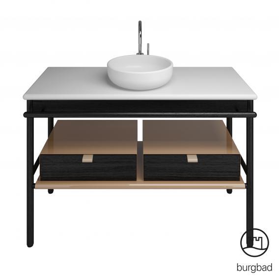 Burgbad Mya Keramik-Waschtisch mit Waschtischunterschrank B: 120 cm, 2 Schubladen Front eiche schwarz/Korpus eiche schwarz/Waschtisch weiß samt