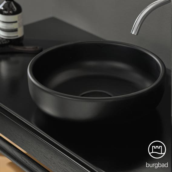 Burgbad Mya Keramik-Waschtisch mit Waschtischunterschrank B: 65 cm, 1 Schublade Front eiche natur/Korpus eiche natur/Waschtisch schwarz matt