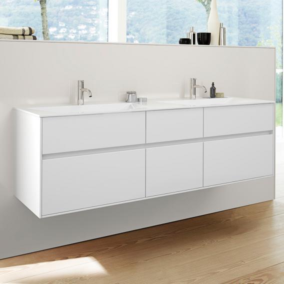 Burgbad RC40 Solitaire Mineralguss-Doppelwaschtisch mit Waschtischunterschrank mit 4 Auszügen Front weiß hochglanz / Korpus weiß hochglanz, Waschtisch weiß