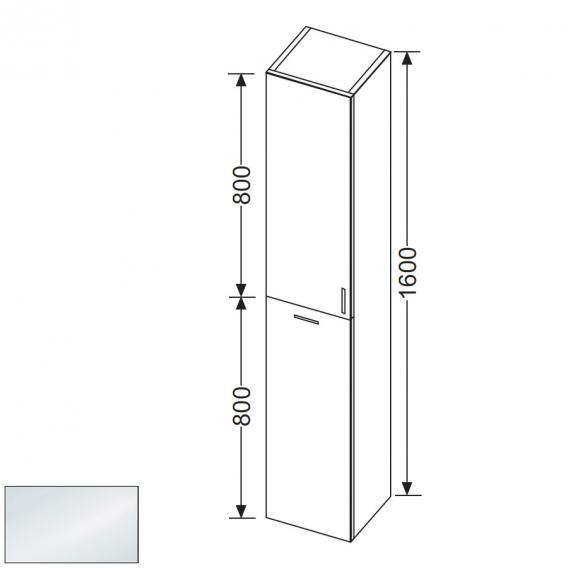 burgbad sinea hochschrank mit 1 t r und 1 w schekippe. Black Bedroom Furniture Sets. Home Design Ideas