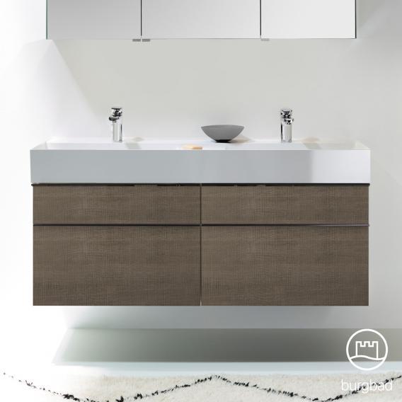 Burgbad Yumo Doppelwaschtisch mit Waschtischunterschrank mit 4 Auszügen Front eiche graubraun wellenschlag/Korpus eiche graubraun wellenschlag/Waschtisch weiß