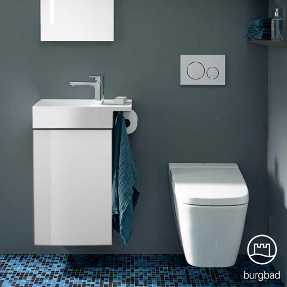 Burgbad Yumo Handwaschbecken mit Waschtischunterschrank mit 1 Tür Front weiß hochglanz/Korpus weiß hochglanz/Waschtisch weiß