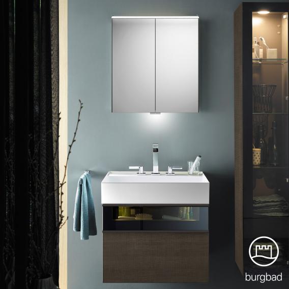 Burgbad Yumo Set Waschtisch mit Waschtischunterschrank und Spiegelschrank Front eiche graubraun wellenschlag/bronze/Korpus eiche graubraun wellenschlag/Waschtisch weiß