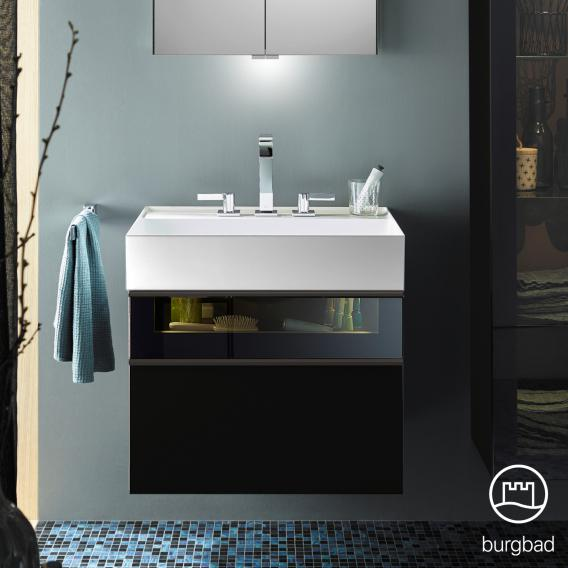 Burgbad Yumo Waschtisch mit Waschtischunterschrank mit LED Beleuchtung und 2 Auszügen Front schwarz hochglanz/bronze/Koprus schwarz hochglanz/Waschtisch weiß
