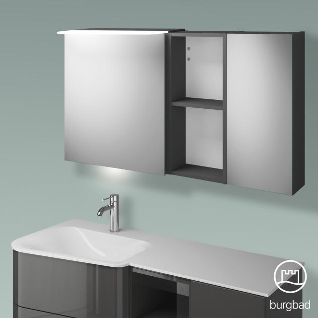 Burgbad Badu Spiegelschrank mit LED-Beleuchtung mit 2 Türen und Regal Korpus anthrazit hochglanz, Griffleiste anthrazit, mit Waschtischbeleuchtung