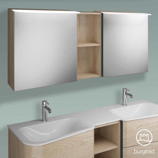 Burgbad Badu Spiegelschrank mit LED-Beleuchtung mit 2 Türen und Regal Korpus eiche cashmere dekor, Griffleiste anthrazit, ohne Waschtischbeleuchtung