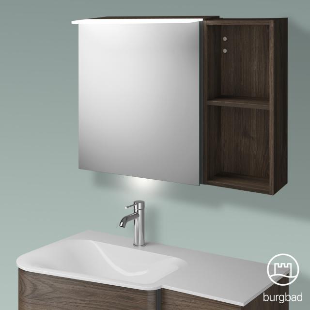 Burgbad Badu Spiegelschrank mit LED-Beleuchtung mit 1 Tür und Regal Korpus marone trüffel dekor, Griffleiste anthrazit, mit Waschtischbeleuchtung