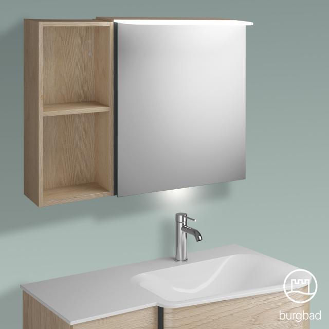 Burgbad Badu Spiegelschrank mit LED-Beleuchtung mit 1 Tür und Regal Korpus eiche cashmere dekor, Griffleiste anthrazit, mit Waschtischbeleuchtung