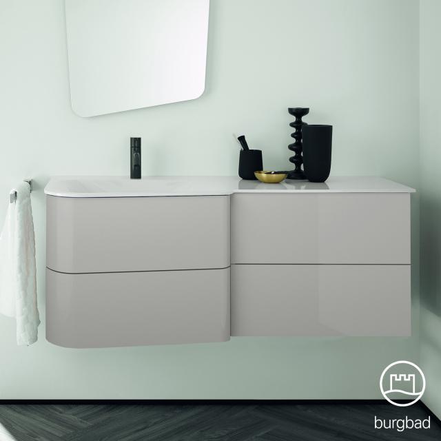 Burgbad Badu Waschtisch mit Waschtischunterschrank mit 4 Auszügen Front leinengrau hochglanz / Korpus leinengrau hochglanz, Griffleiste anthrazit, Waschtisch weiß