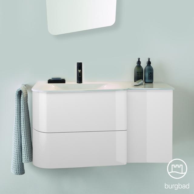 Burgbad Badu Waschtisch mit Waschtischunterschrank mit 2 Auszügen Front weiß hochglanz / Korpus weiß hochglanz, Griffleiste anthrazit, Waschtisch weiß