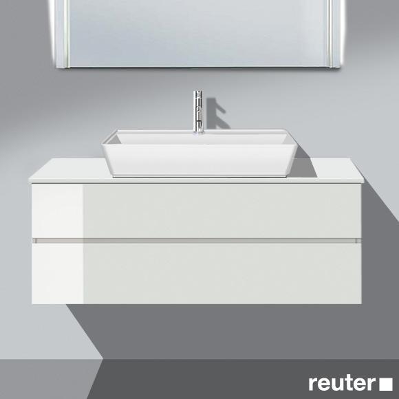 Burgbad Bel Aufsatzwaschtisch mit Waschtischunterschrank mit 2 Auszügen Front weiß hochgl./Korpus weiß hochgl./Waschtisch weiß
