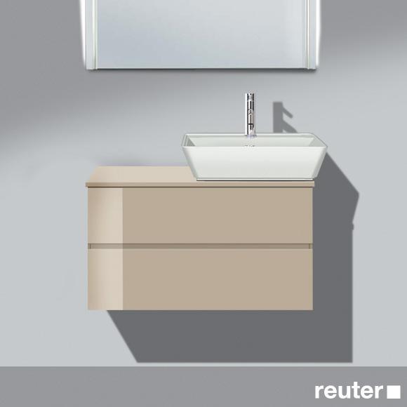 Burgbad Bel Aufsatzwaschtisch mit Waschtischunterschrank mit 2 Auszügen Front sand hochgl./Korpus sand hochgl./Waschtisch weiß