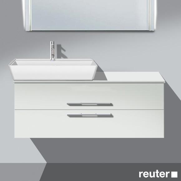 Burgbad Bel Aufsatzwaschtisch mit Waschtischunterschrank mit 2 Auszügen Front weiß matt/Korpus weiß matt/Waschtisch weiß