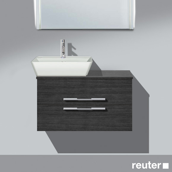 Burgbad Bel Aufsatzwaschtisch mit Waschtischunterschrank mit 2 Auszügen Front hacienda schwarz/Korpus hacienda schwarz/Waschtisch weiß