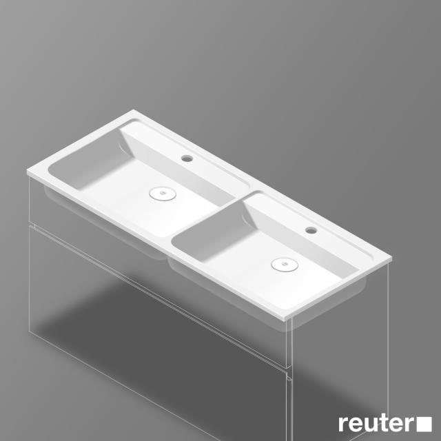 Burgbad Bel Doppelwaschtisch mit 2 Becken weiß