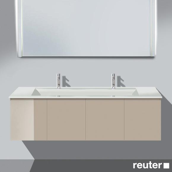Burgbad Bel Doppelwaschtisch mit Waschtischunterschrank mit 4 Türen Front sand hochgl./Korpus sand hochgl./Waschtisch weiß